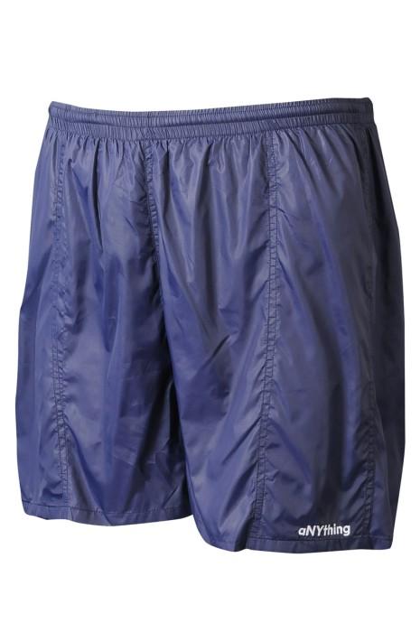 U375 網上下單訂製行山運動短褲   供應排汗長跑淨色隱形拉鏈後袋口  運動褲專門店  深藍色 100%滌  擰面