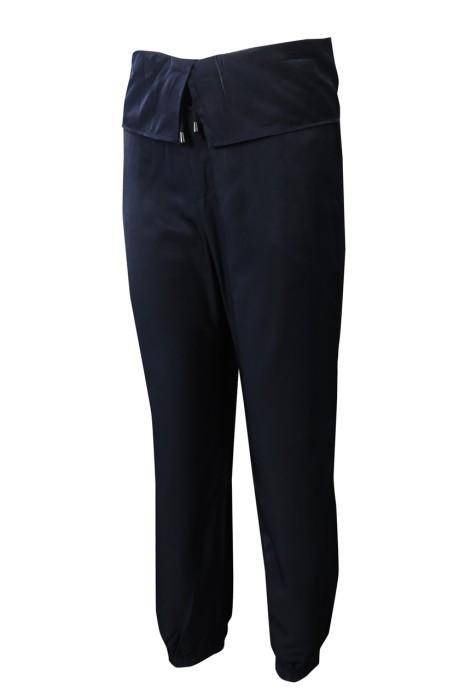 U377 製造淨色深藍色抽繩瑜伽運動褲款型 設計寬闊腰頭橡筋束腳長梳織運動褲 運動褲專營店  100%天絲