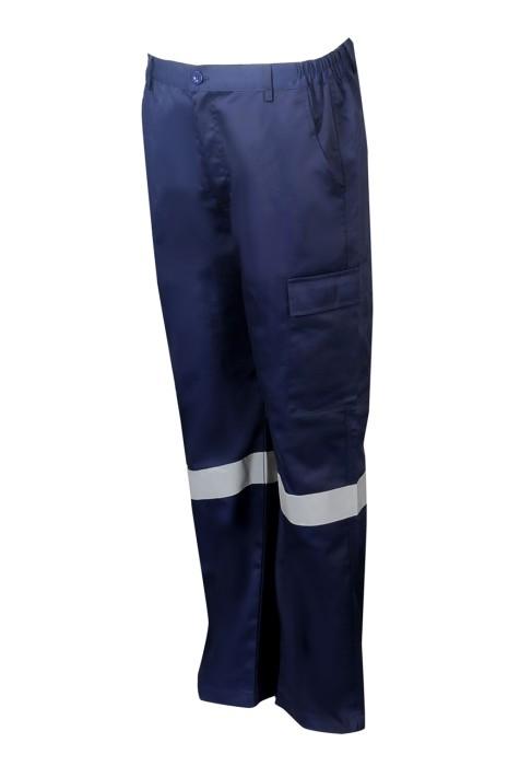 H240 製造長褲工業斜褲 設計反光帶 大腿側面口袋 兩側腰圍鬆緊斜褲  工程褲中心  65%滌 35%棉 香港 大型鋁架 金屬棚架高空工作台
