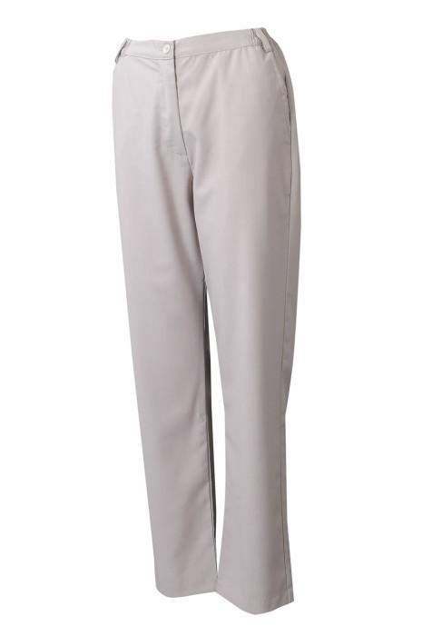H245  供應卡其色工作長斜褲  設計兩側鬆緊腰頭斜褲  斜褲製衣廠  物業管理  營業員