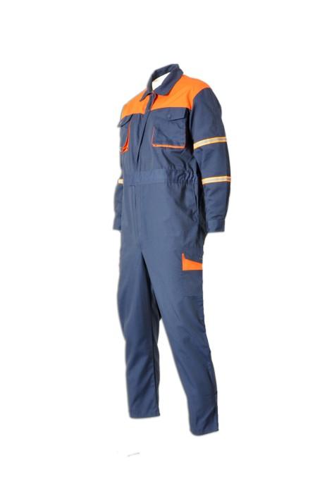 D133來樣訂做連體工作制服  訂購團體員工制服   雙胸袋 設計工業制服款式點襯  工業制服製造商HK 連身工人褲  夾乸衣 蛤乸衣 甲乸衣