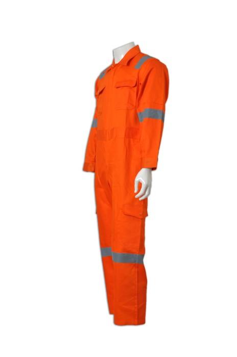D138 網上訂購工業制服連體套裝  雙胸袋 自製團體員工制服  幼帶反光帶 工業制服中心  工業制服工廠 連身工人褲  夾乸衣 蛤乸衣 甲乸衣