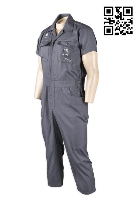 D166  飛機維修行業連體制服 來樣訂製 繡花Logo工作制服 雙胸袋 專業製造航空業機器工程服 工業制服生產商  連身工人褲  夾乸衣 蛤乸衣 甲乸衣
