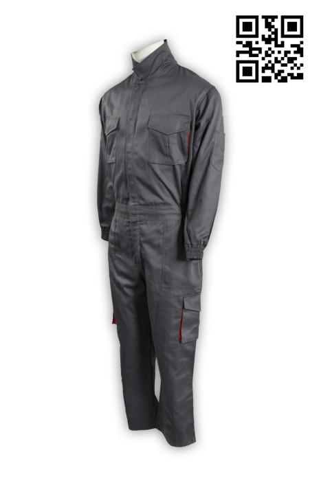 D176大量訂購工業制服 製造灰色工業制服 腰側橡筋 雙胸袋 連體工作服 訂印連衣工業制服 工業制服制服公司