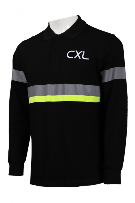 D265 訂做黑色長袖反光條Polo恤  反光 螢光 拼色設計 保安 工業制服製衣廠