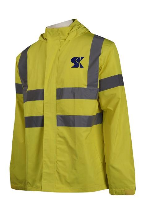 D268 製作連帽反光條雨褸 澳門 瑞權工程 工業制服供應商