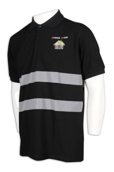 D284 設計短袖反光條工業Polo 工業制服製衣廠