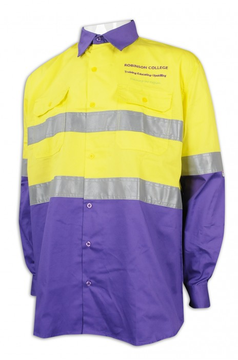 D289 製作拼色長袖工業制服 反光條 羅賓遜學院 工業制服專門店