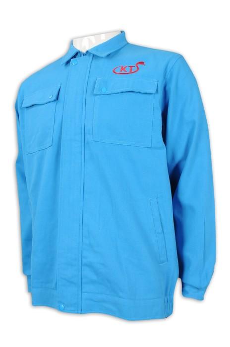 D296 訂製長袖淨色工業制服  雙胸袋 工業制服生產商