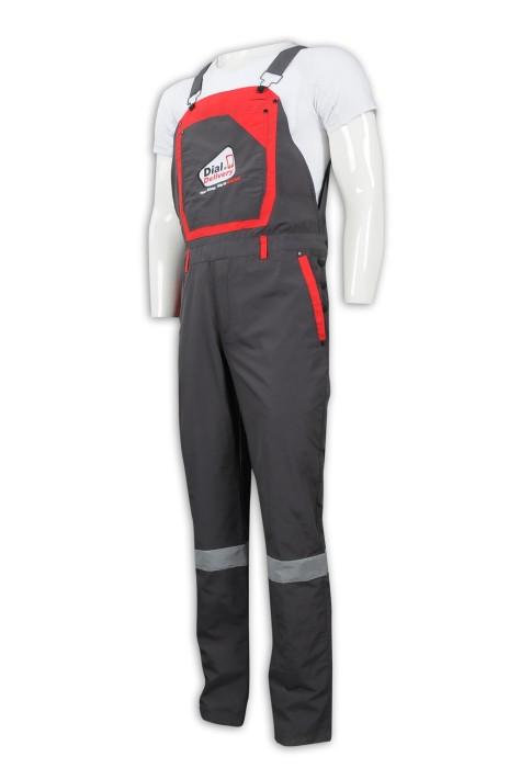 D297 訂做連身工人吊帶褲 反光條 消光過膠 工業制服供應商