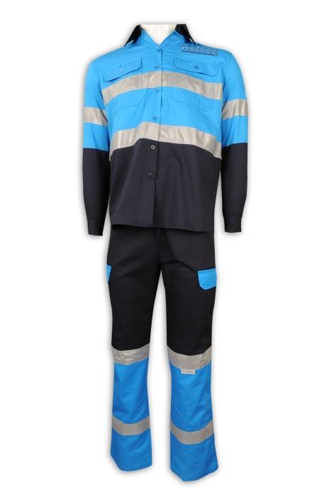 D299 訂做拼色工業制服套裝 反光條 工業制服生產商