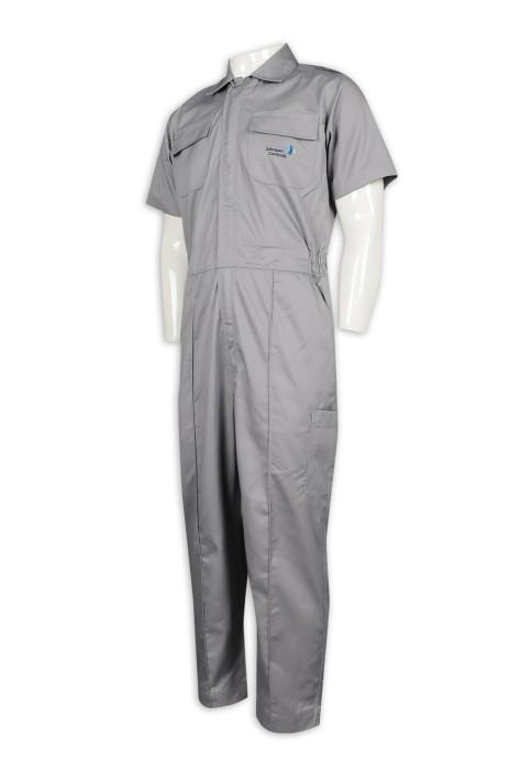 D304 訂做淨色連身工業制服 魔術貼 拉鏈 工業制服生產商