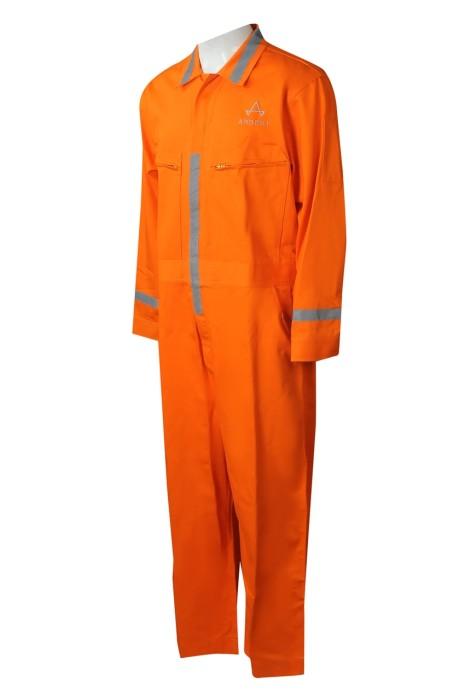 D327 製造連身長褲工業制服  個性化長袖翻領反光帶 前胸兩側拉鏈口袋 拉鏈工業制服 繡花LOGO 橡筋鬆緊腰圍 連身工業制服專門店 橙色 反光布領位 採購公司制服 香港