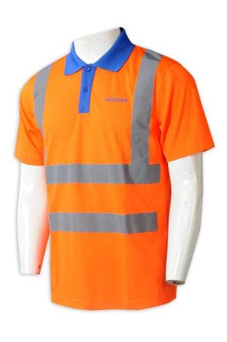 D329 量身訂作短袖反光工業制服 訂製撞色領Polo恤 印花LOGO 橙色 工業制服製服公司 網眼布