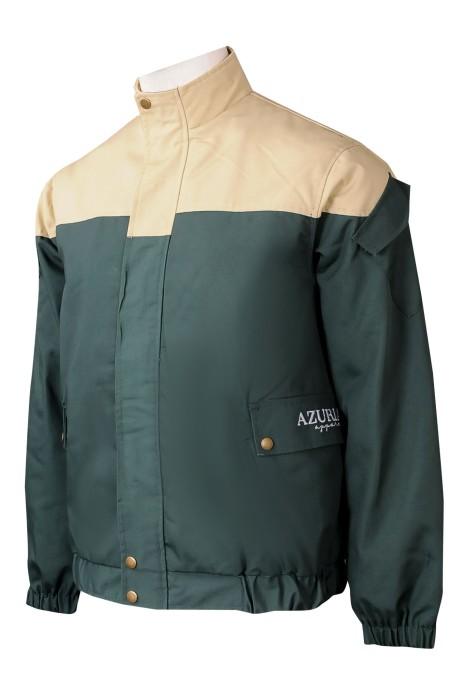 D333 量身訂製工業制服外套 個人設計撞色啪鈕橡筋袖口工業制服外套 袖子袋口 工業制服外套批發商  美國