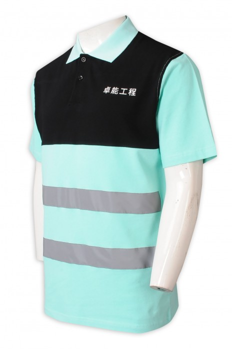 D334  專業訂製男裝工業制服Polo   設計工程制服綠黑撞色 反領   工業制服中心