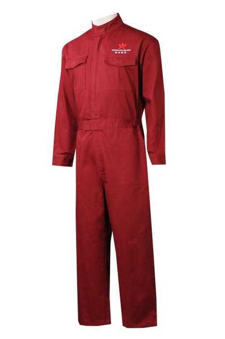 D336  訂購紅色連體工作服   來樣訂造連體工作服   網上下單工作制服  制服專門店 連身工人褲   墻壁工作服