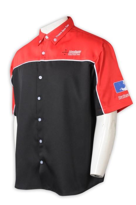 D342  訂製Polo拼色工業制服   個人設計繡花logo  工業制服工廠  黑色拼紅色  美國