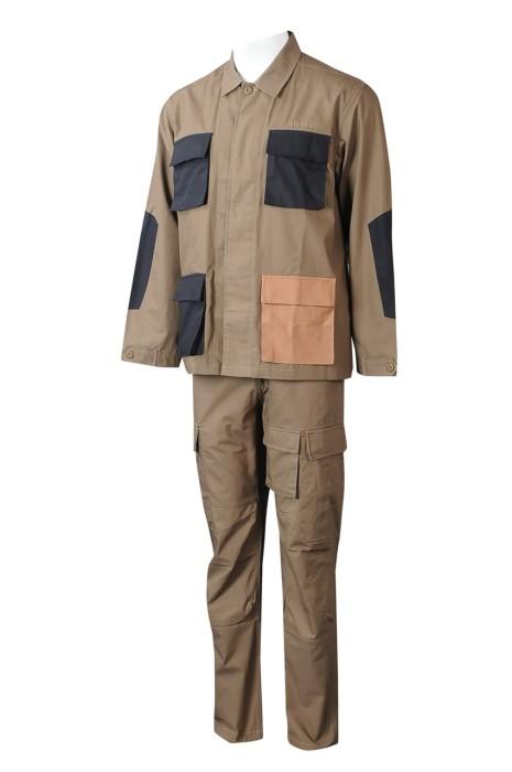 D346  製造男裝長袖工業制服套裝  自訂撞色袋口翻領外套  雙側大袋口直筒長褲 工業制服中心  多袋撞色 時裝款 100%棉   保暖工作服   復古工作服