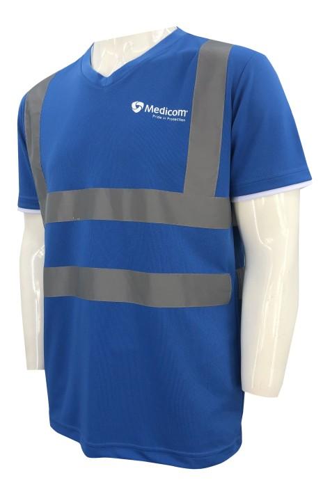 D348  訂做短袖工業制服  設計衫袖撞色   V領   熒光帶   工業制服供應商     印花logo