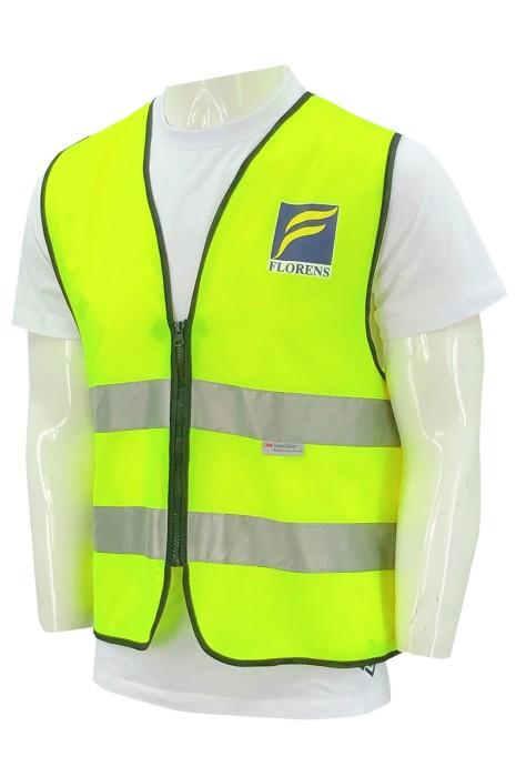 D350  訂做熒光綠工業背心   反光條   無袖   背心   工業制服製造商    貨櫃 租賃 行業 物流貨櫃場員工背心