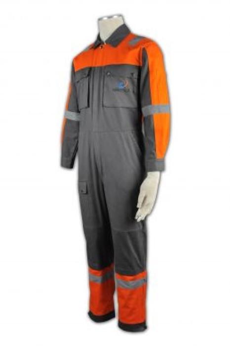 D108  訂製反光制服套裝 訂購員工制服 雙胸袋 設計工業制服中心 幼帶反光帶 製衣工業供應商HK