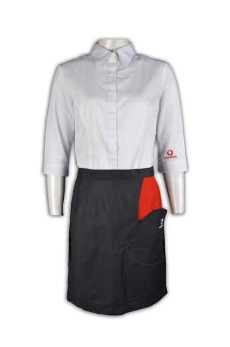 UN154 訂製公司制服套裝  來辦訂購團體制服  3/4 袖 7分袖 設計logo圖案 公司制服專門店HK