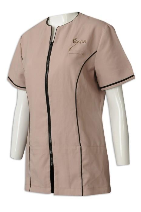 UN175 訂購spa員工制服  設計拉鏈員工制服 水療 按摩 人員 休閒中心 美容 筆插 制服製造商