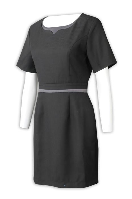 UN179  製造短袖連身裙 設計束腰款連身裙 連身裙供應商 物業管理 豐樹
