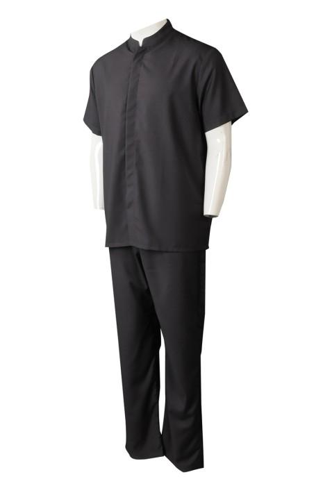 UN180  製造水療會所制服套裝  訂製黑色純色按摩制服  橡筋腰頭 公司制服供應商  母嬰產品 推銷員 產品講解員 行業 新加坡