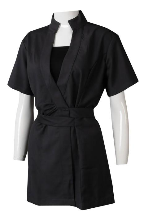UN181  訂做女裝SPA工作制服  設計綁帶收腰純色水療外套  公司制服供應商 新加坡 推銷  母嬰產品  收腰行政連身套裝款式