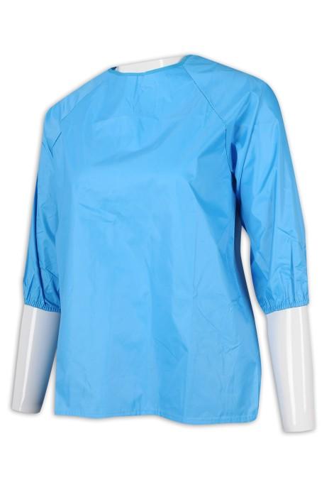 AP140 設計淨色兒童圍裙 綁帶 畫室 圍裙製衣廠