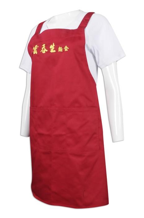 AP143 製作紅色全身圍裙 餐飲圍裙 面店 圍裙製衣廠