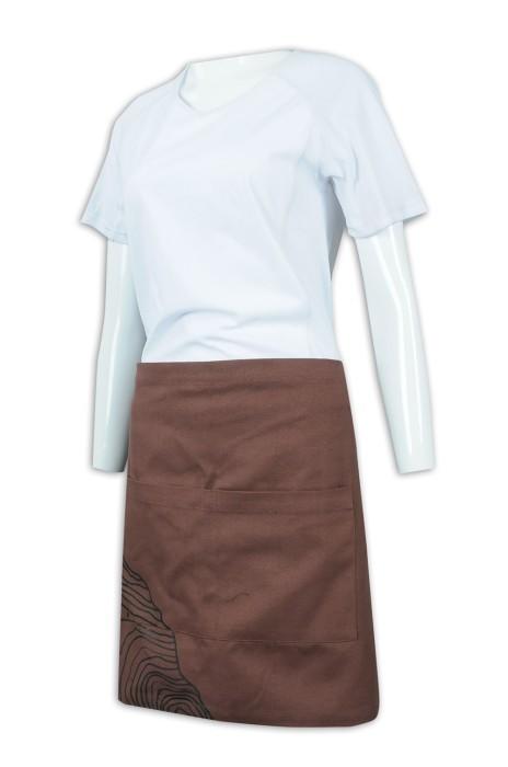 AP146 設計淨色半身圍裙 全棉珠帆布 圍裙製造商