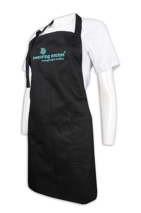 AP148 設計黑色全身圍裙 繡花logo 圍裙製造商