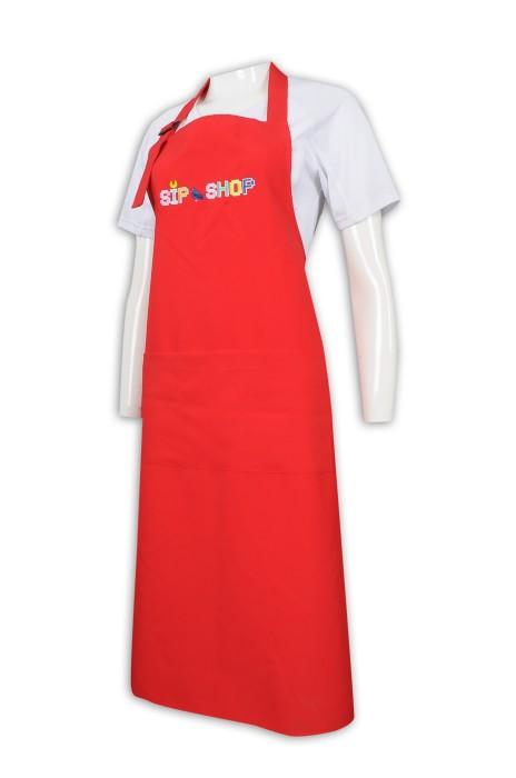 AP150 訂製紅色全身圍裙 繍花logo 圍裙生產商