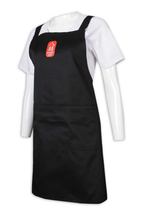 AP155 來樣訂做圍裙 logo 黑色圍裙 餐飲制服 圍裙製造商