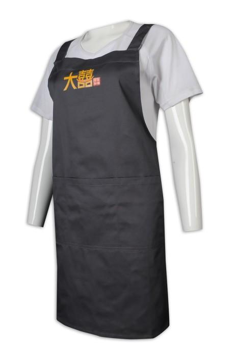 AP157 訂做圍裙 全身 淨色 餐飲制服 黑色 Logo 筆插袋 圍裙專門店