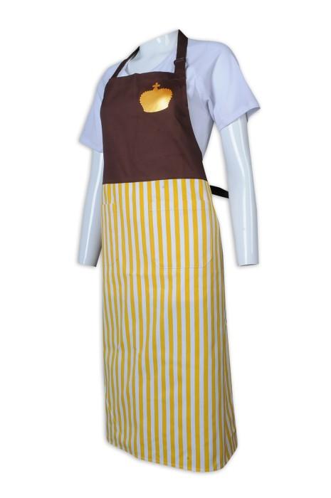 AP158 制訂圍裙 拼色 全身 豎條紋 掛脖 圍裙生產商