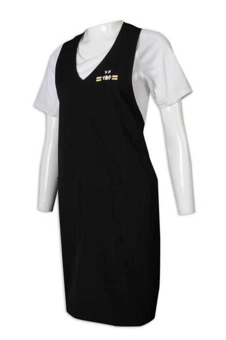 AP162 自訂圍裙 V領 掛脖 黑色 全身 插袋 綁帶 圍裙製造商