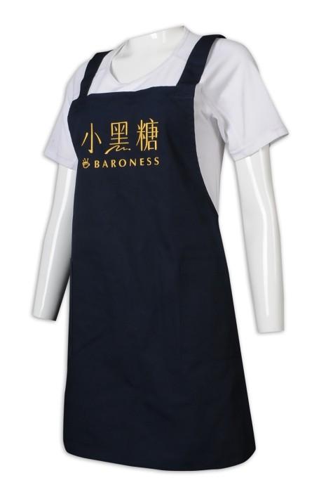 AP163 來樣訂做圍裙 黑色 全身圍裙 飲食圍裙 咖啡店圍裙 Logo 圍裙生產商
