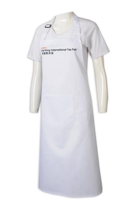 AP164   訂做繡花logo全身圍裙  訂做團體員工圍裙  茶展圍裙 淨色   展覽會 用圍裙  圍裙供應商   白色