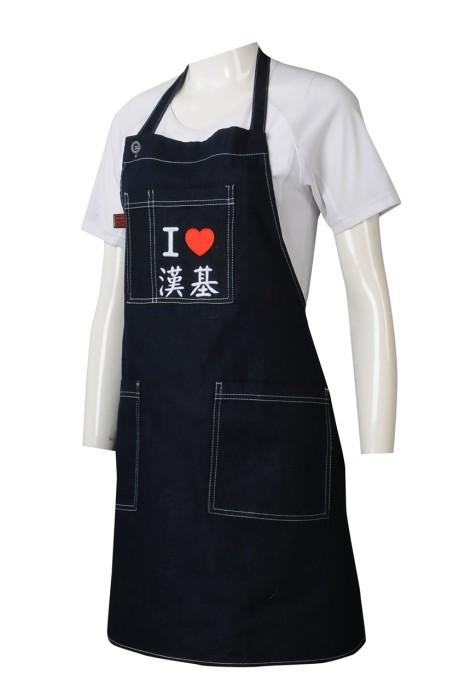 AP165   牛仔布圍裙  連身圍裙  訂做繡花logo  訂造牛仔圍裙專營店   35%滌    國際學校