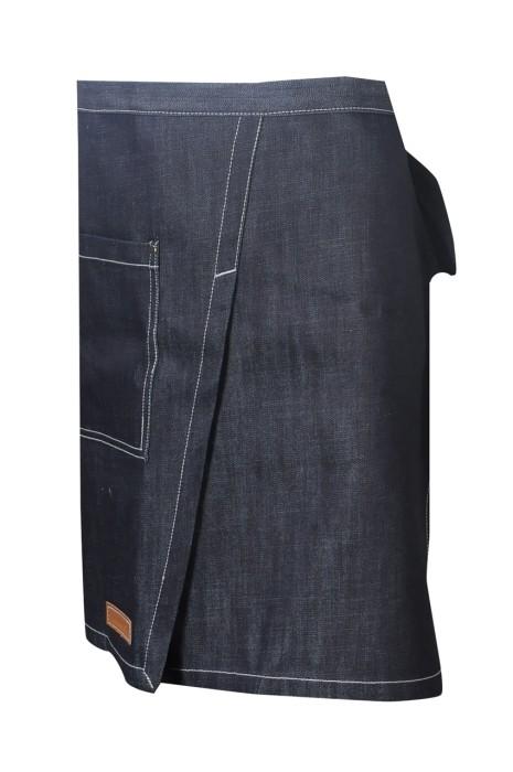AP166 訂製半身牛仔圍裙 設計側開口袋牛仔圍裙 後綁帶 牛仔圍裙供應商  香港