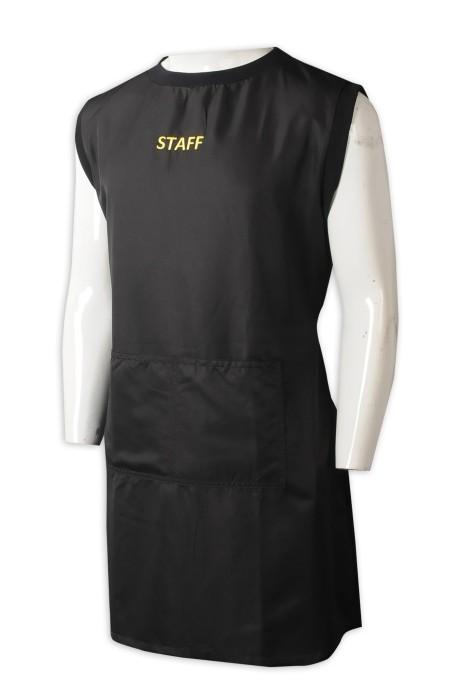 AP167 製造背心圍裙  設計黑色刺繡員工背心圍裙  後綁帶  背心圍裙供應商   cooking lesson sessionc