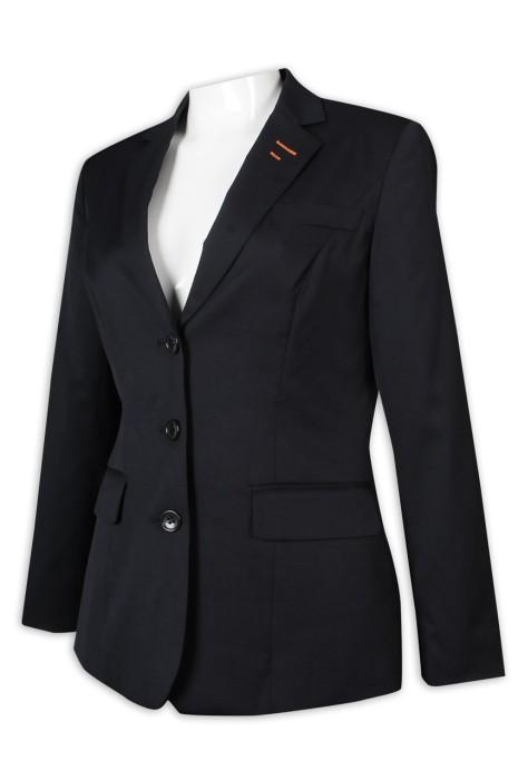 BWS258 團隊訂做女西裝 3粒鈕 修腰 黑色 女西裝生產商
