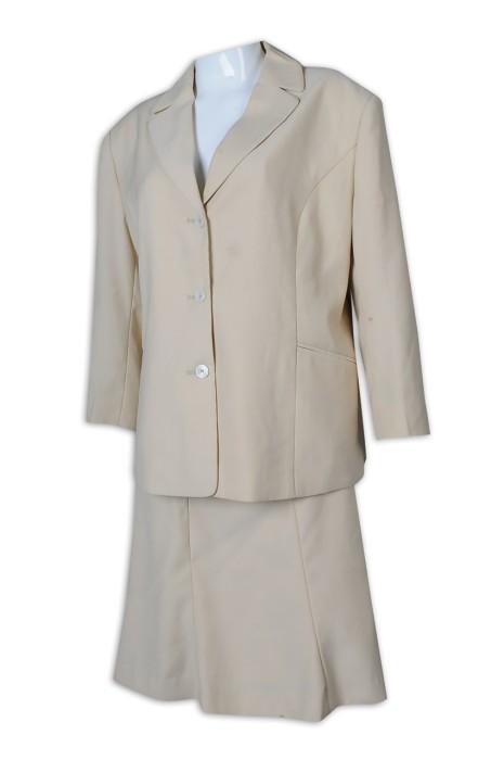 BWS259 制訂女西裝 杏色 套裝 西裝短裙 翻領 工作服 上班服 女西裝專門店