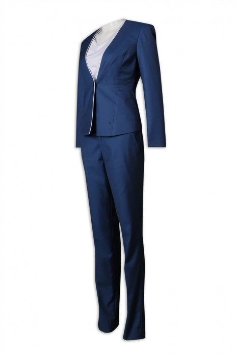 BWS260 制訂女西裝 淨色 套裝 65%滌35%絲 修身 1粒鈕 拼色 套裝 女西裝製造商