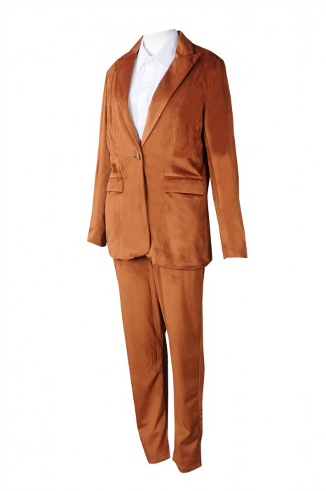 BWS262 訂製女西裝 金屬鈕扣 設計金絲絨女西裝 女西裝供應商 絨布  中樂團 表演
