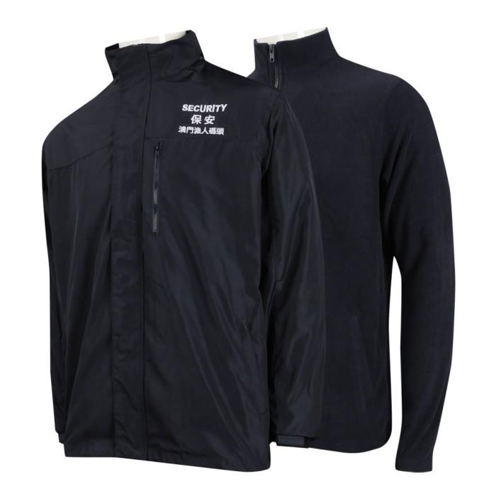 SE058 訂製兩面穿保安風褸 拉鏈蓋 魔術貼袖口 澳門 保安制服專門店